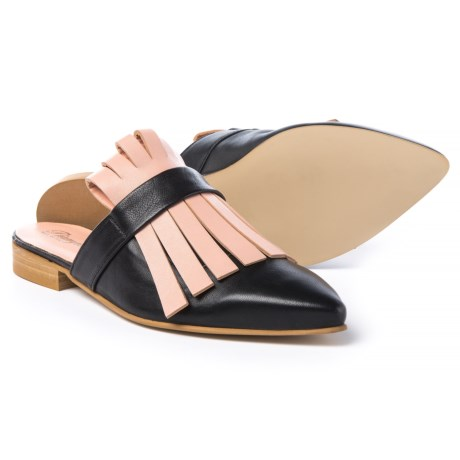 Piampiani Kiltie Mule Shoes - Leather (For Women) in Black/Pink
