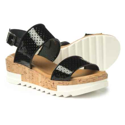 Piampiani Patent Perforated Sandals - Leather (For Women) in Black - Closeouts