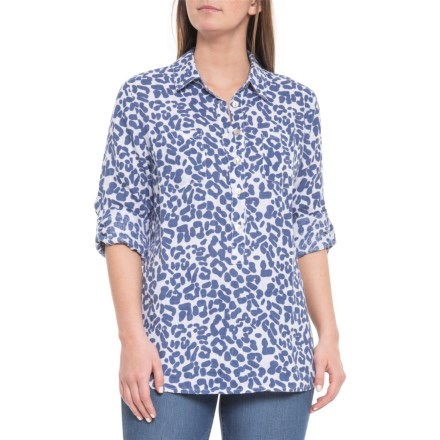 3343493c67a81 Piazza Del Tempo Made in Italy Blue Leo Tunic Shirt - Long Sleeve (For Women