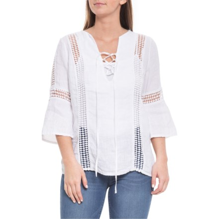 06d87b822b Piazza Del Tempo Made in Italy White Geo Crochet Shirt - Linen