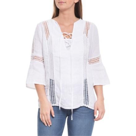 2f9ef4f682c Piazza Del Tempo Made in Italy White Geo Crochet Shirt - Linen, 3/4