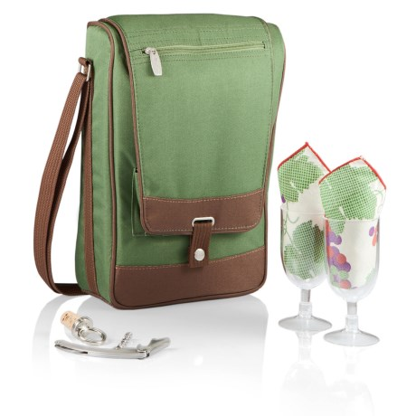 Picnic Time Barossa Wine Tote Set - 6-Piece in Pine Green