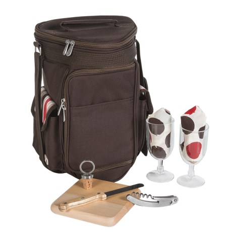 Picnic Time Mertiage Deluxe Insulated Wine and Cheese Picnic Tote Bag