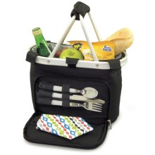 Picnic Time Metro Uno Picnic Lunch Tote Basket - Insulated in Black - Closeouts