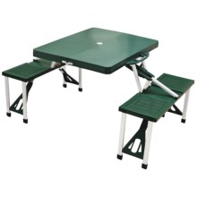 Picnic Time Portable Folding Table with Seats in Green - Closeouts