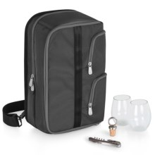 Picnic Time Tiburon Wine Tote Bag - Stemless Glasses in Black - Closeouts