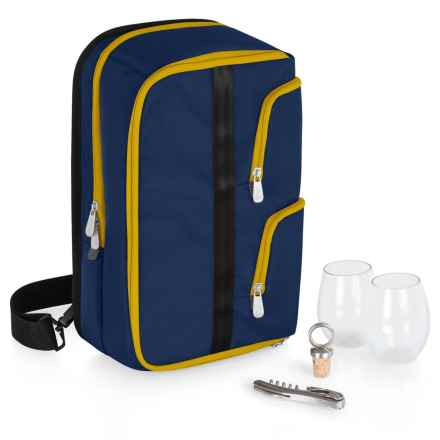Picnic Time Tiburon Wine Tote Bag - Stemless Glasses in Navy - Closeouts