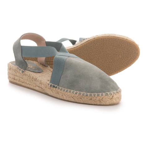 Picon Made in Spain Cross Band Espadrille - Suede (For Women) in Blue Sky