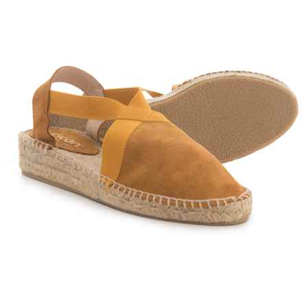 Picon Made in Spain Cross Band Espadrille - Suede (For Women) in Camel - Closeouts