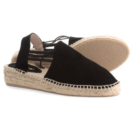 Picon Made in Spain Triple-Band Espadrilles - Suede, Slip-Ons (For Women) in Black