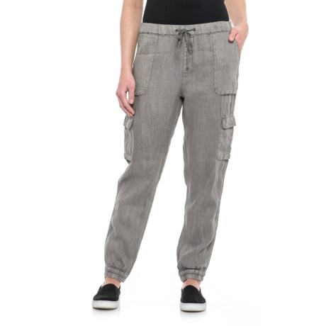 Pigment-Dyed Pull-On Pants - Linen (For Women)