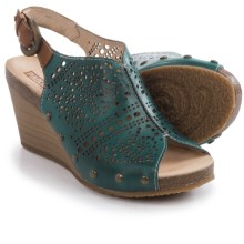 Pikolinos Benissa Wedge Sandals - Leather (For Women) in Petrol - Closeouts
