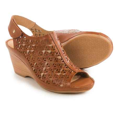 Pikolinos Capri Perforated Wedge Sandals - Leather (For Women) in Brandy - Closeouts