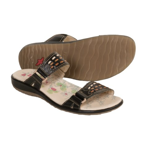 Pikolinos Costa Rica Sandals - Leather Slides (For Women) in Black