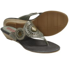Pikolinos Formentera Sandals - Low Wedge Thongs (For Women) in Olive - Closeouts