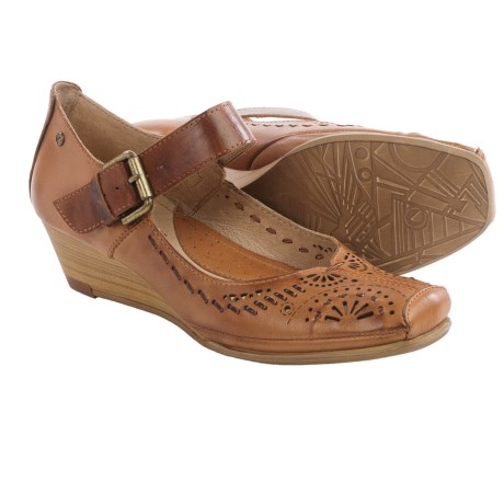 Pikolinos La Palma Mary Jane Shoes Leather Wedge Heel For Women