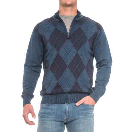 Pima Cotton Argyle Sweater - Zip Neck (For Men) in Washed Denim - Closeouts