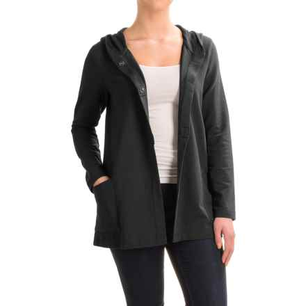 Pima Cotton Blend Hooded Jacket (For Women) in Black - 2nds