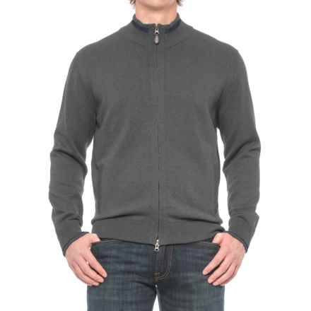 Pima Cotton Contrast Trim Sweater - Full Zip (For Men) in Greymix - Closeouts
