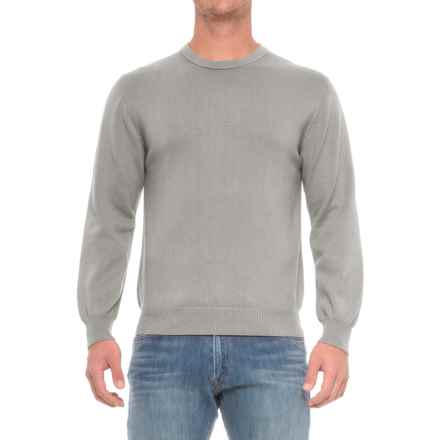 Pima Cotton Crew Neck Sweater (For Men) in Grey - Closeouts
