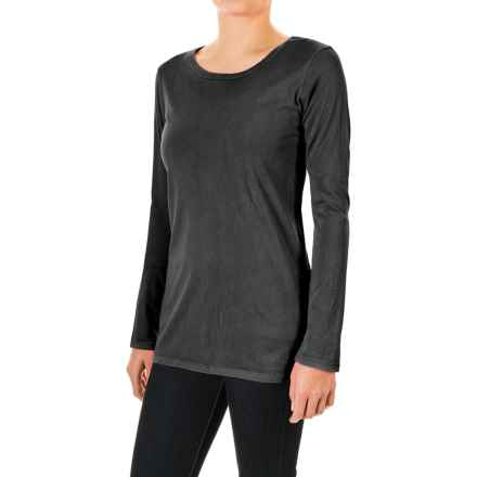 Pima Cotton Essential Crew Shirt - Long Sleeve (For Women) in Black - 2nds