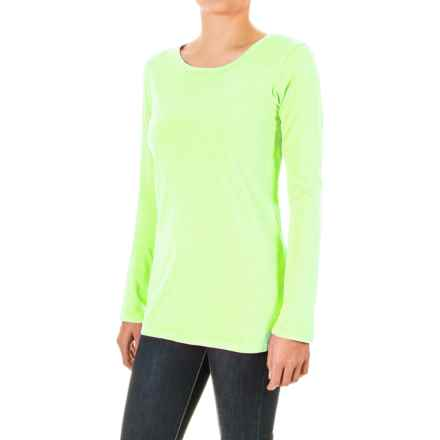Pima Cotton Essential Crew Shirt - Long Sleeve (For Women) in Fluorescent Yellow - 2nds