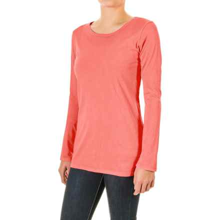 Pima Cotton Essential Crew Shirt - Long Sleeve (For Women) in Neon Coral - 2nds