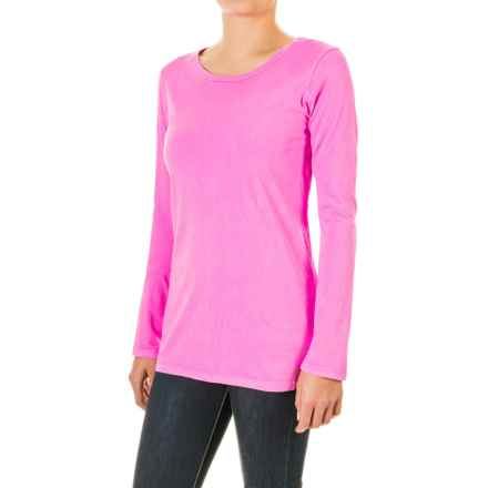 Pima Cotton Essential Crew Shirt - Long Sleeve (For Women) in Pink - 2nds