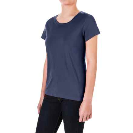 Pima Cotton Essential Crew Shirt - Short Sleeve (For Women) in Navy - 2nds