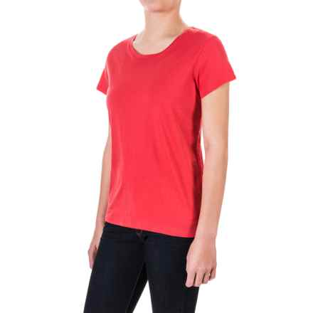 Pima Cotton Essential Crew Shirt - Short Sleeve (For Women) in Red - 2nds