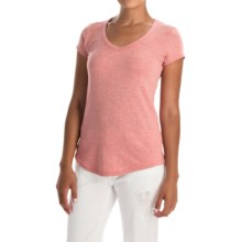 Pima Cotton-Modal V-Neck T-Shirt - Short Sleeve (For Women) in Light Red Heather - Closeouts