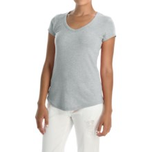 Pima Cotton-Modal V-Neck T-Shirt - Short Sleeve (For Women) in Medium Grey Heather - Closeouts