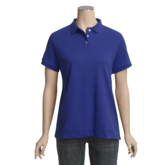 Pima Cotton Polo Shirt - Short Sleeve (For Women) in Royal