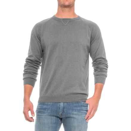 Pima Cotton Raglan Sweater (For Men) in Greymix - Closeouts