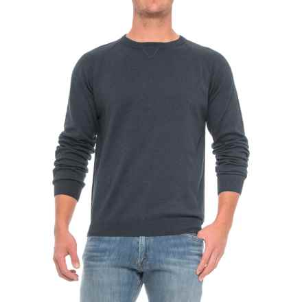 Pima Cotton Raglan Sweater (For Men) in Navy - Closeouts