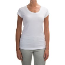 Pima Cotton Ribbed Shirt - Short Sleeve (For Women) in White - Closeouts