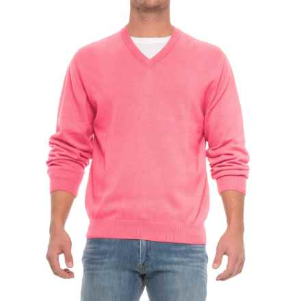 Pima Cotton V-Neck Sweater (For Men) in Carnation - Closeouts