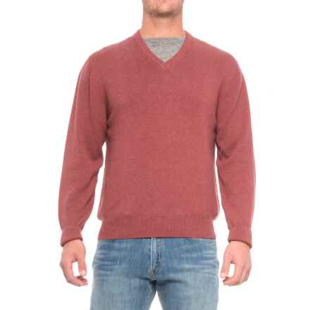 Pima Cotton V-Neck Sweater (For Men) in Garnet - Closeouts