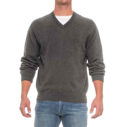 Pima Cotton V-Neck Sweater (For Men) in Grey Mix - Closeouts