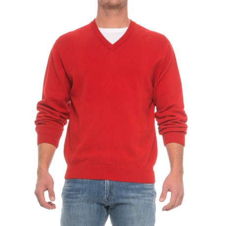 Pima Cotton V-Neck Sweater (For Men) in Persian Red