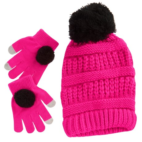 Pink Platinum Beanie and Gloves Set - Touchscreen Compatible (For Big Girls) in Pink Glo