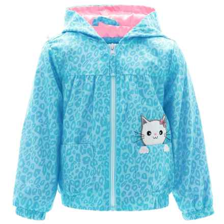 Pink Platinum Cheetah-Print Windbreaker Jacket - Hooded (For Toddler Girls) in Blue - Closeouts