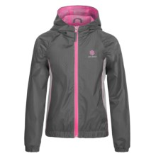 Pink Platinum Color-Block Active Jacket (For Big Girls) in Charcoal - Closeouts