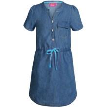 Pink Platinum Denim Dress - Short Sleeve (For Big Girls) in Dark Wash - Closeouts