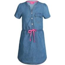 Pink Platinum Denim Dress - Short Sleeve (For Big Girls) in Medium Wash - Closeouts