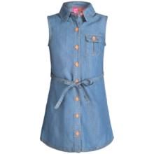 Pink Platinum Denim Dress - Sleeveless (For Little Girls) in Light Wash - Closeouts