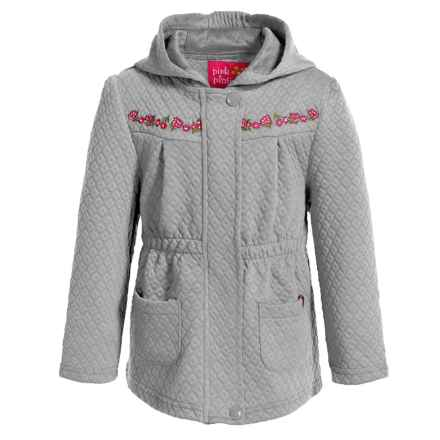 Pink Platinum Diamond-Quilted Knit Jacket (For Toddler Girls) in Heather Grey - Closeouts
