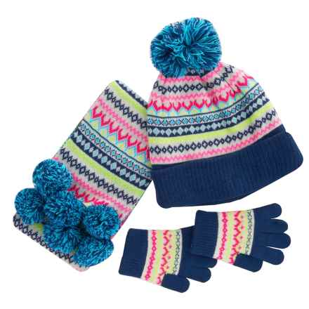 Pink Platinum Fair Isle Hat, Gloves and Scarf Set (For Big Girls) in Navy - Closeouts