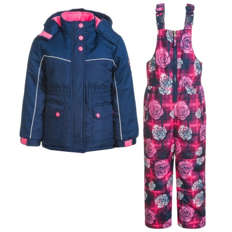 Pink Platinum Floral and Plaid Printed Snowsuit Set - Insulated (For Little Girls) in Navy