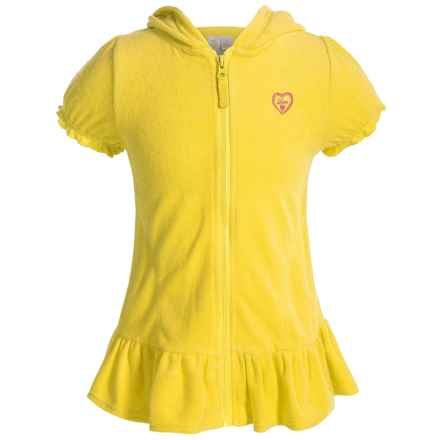 Pink Platinum French Terry Swimsuit Cover-Up - Short Sleeve (For Little Girls) in Lemon - Closeouts